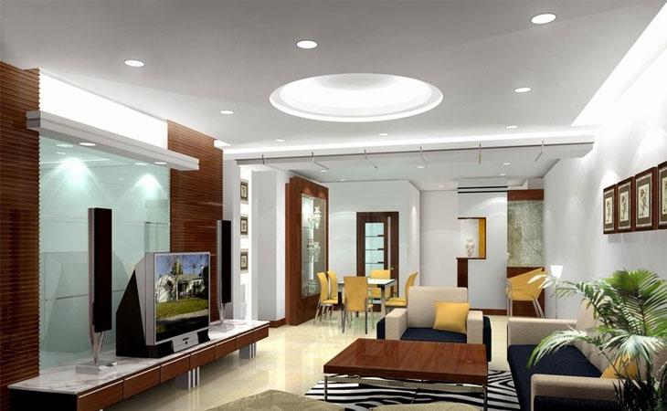 Ứng dụng của đèn led panel âm trần tròn trong phòng khách chung cư