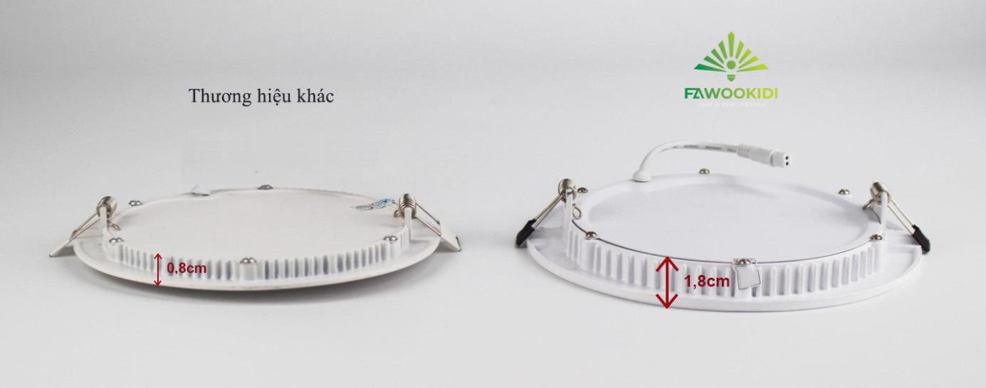 So sánh độ dày đế tản nhiệt của đèn led ngoài thị trường (trái) và đế tản nhiệt của đèn Led Fawookidi (phải)