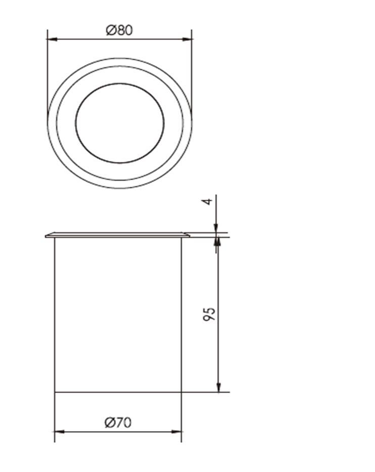 Bản vẽ kỹ thuật sản phẩm đèn Led âm đất FK-UG4S-T